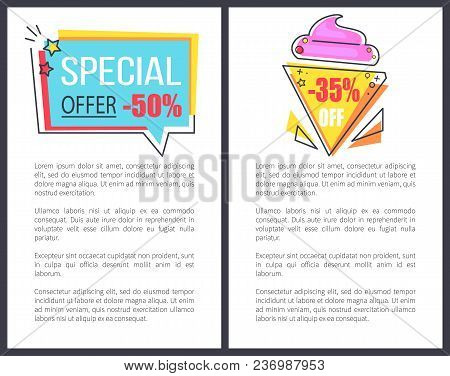 Special Offer With 35 Off Promotional Posters With Huge Attractive Sign On Icecream Shape And Rectan