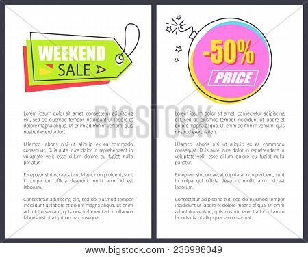 Weekend Sale Arrow Shaped Pointer On Lace Round Advert Sticker Half Price Sale, Vector Illustration