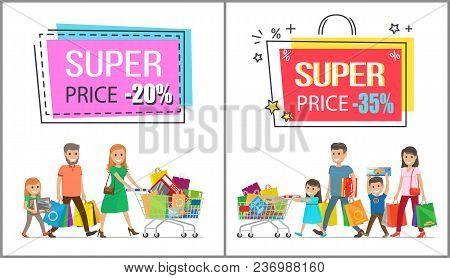 Super Price Reduction For Family Shopping Promotional Poster. Parents And Children Happy With Their