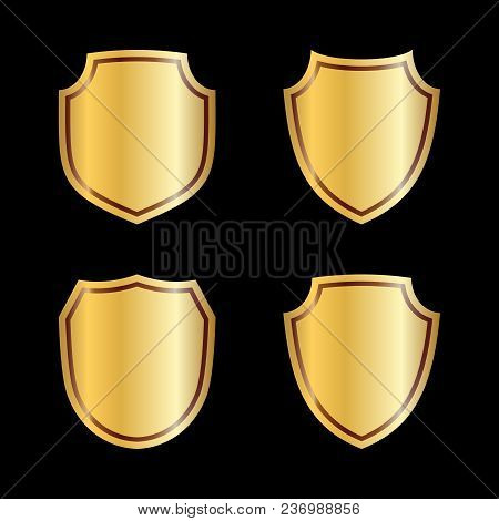 Gold Shield Shape Icons Set. 3d Golden Emblem Signs Isolated On Black Background. Symbol Of Security