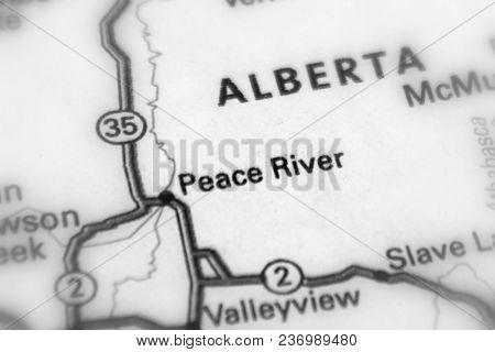 Peace River, Alberta, Canada (black And White Selective Focus)