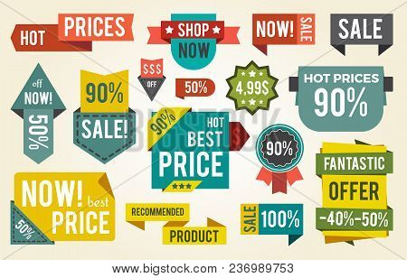 Hot Price, Shop Now, Fantastic Offer, Set Of Stickers With Headlines, Rectangular And Circular Shape