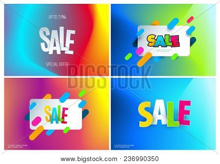 Sale Banner Template Design On Colourful Fluid Blend Background. Special Offer, Colourful Letters Fo