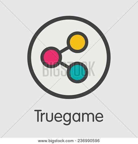 Truegame Finance. Digital Currency - Vector Pictogram Symbol. Modern Computer Network Technology Tra