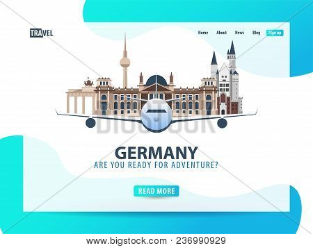 Germany. Travel Banner Or Web Template For Web Site Or Landing Page. Time To Travel. Vector Ui Illus