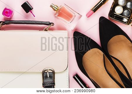 Women's Accessories - Shoes, Bag, Cosmetics, Perfume On Pink Background. Feminine And Fashion Backgr