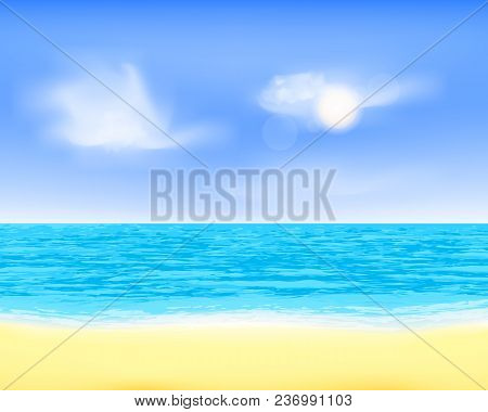 Peaceful Sea Beach View. Quiet Breeze, Clouds And Sand Plage Illustration