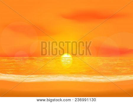 Quiet Dawn Sea View Background. Vivid Illustration Of Sunrise