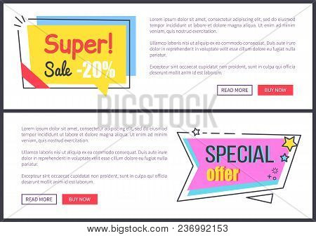 Super Special Offer Promotion On Internet Page With Sample Text And Bright Stickers With Price Reduc