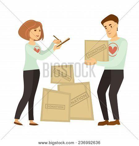 Volunteer Work Or Volunteering People. Vector Social Volunteer Man And Woman Sending Donation Parcel