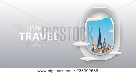 View From Airplane. Flight Window. Europe. Flat Web Vector Banner