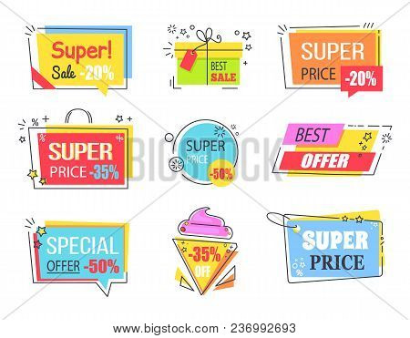 Best Offer With Huge Discount Promotional Emblems. Logotypes In Form Of Tasty Ice Cream, Gift Box, S