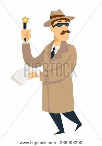 Detective Man On Investigation. Vector Cartoon Man Character In Detective Secret Agent Coat, Hat And