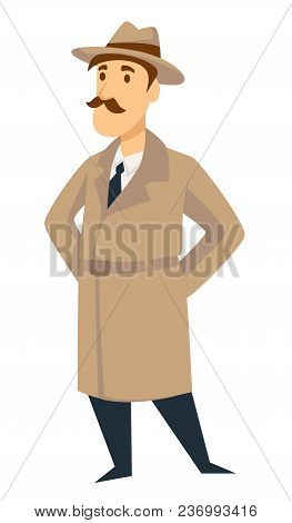 Detective Man On Investigation. Vector Cartoon Secret Agent Or Police Inspector Man Character In Det