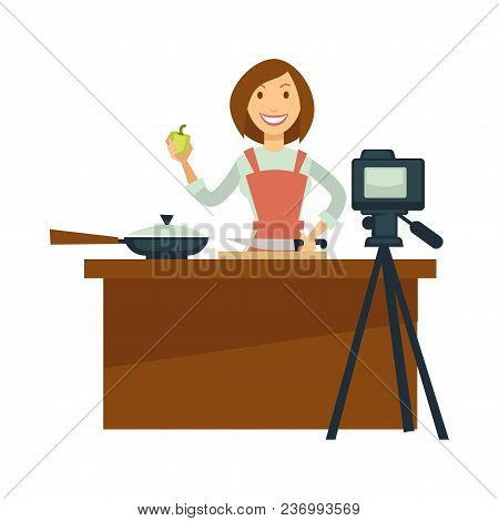 Blogger Girl Or Vlogger Woman Shooting Coooking Show Or Food Recipe On Camera For Social Net Photo B