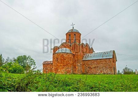 Church Of The Transfiguration Of Savior On Kovalevo In Veliky Novgorod, Russia. Architecture View Of