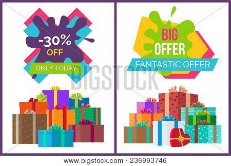 Fantastic Offer Sale Advert With Discount Value. Vector Illustration With Special Proposition Decora