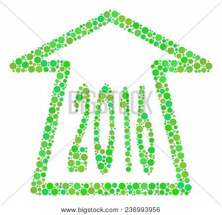 2016 Ahead Arrow Composition Icon Of Spheric Blots In Various Sizes And Green Color Tints. Vector Po