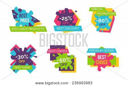 Exclusive Products Huge Sale Bright Advertisement Logotypes Set With Signs On Paint Blots Isolated V