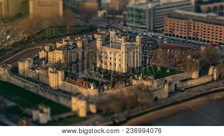 Aerial view of the Tower of London with intentional Tilt-Shift-Blur
