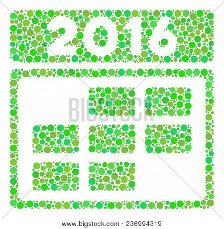 2016 Calendar Grid Collage Icon Of Spheric Blots In Different Sizes And Fresh Green Color Tones. Vec