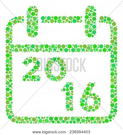 2016 Calendar Composition Icon Of Circle Spots In Various Sizes And Fresh Green Color Tinges. Vector