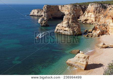 natural rocks and beaches at Lagos Portugal, Europe.