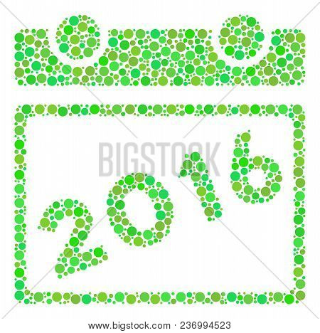 2016 Calendar Mosaic Icon Of Dots In Different Sizes And Green Shades. Vector Blots Are Grouped Into