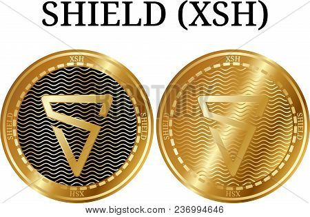 Set Of Physical Golden Coin Shield (xsh), Digital Cryptocurrency. Shield (xsh) Icon Set. Vector Illu