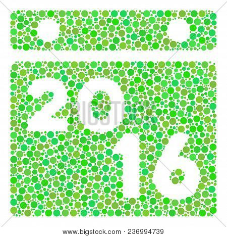 2016 Calendar Composition Icon Of Circle Spots In Different Sizes And Eco Green Shades. Vector Point
