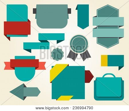 Collection Of Blue Stickers And Red Ribbons, That Allow You To Put Your Own Titles On Them, Vector I