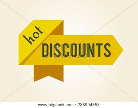 Hot Discounts Yellow Bent Ribbons, Making Label, Flag That Is Frame For Headline, Image With Shadow