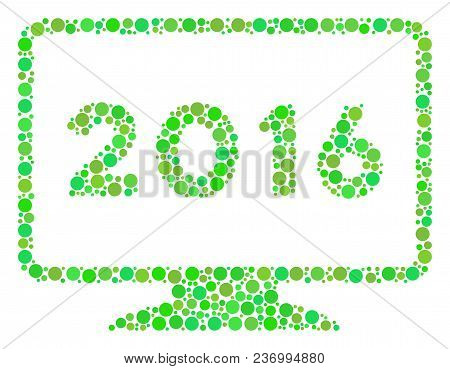 2016 Display Mosaic Icon Of Circle Spots In Variable Sizes And Eco Green Color Tints. Vector Blots A