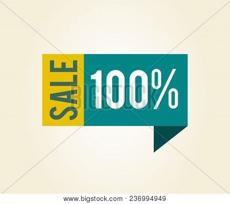 Sale 100 Label With Title, Sticker That Is Made Up Of Bent Blue Ribbon And Yellow Rectangle, Vector