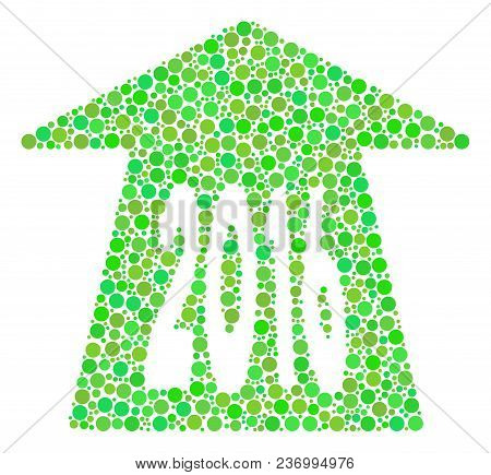 2016 Future Road Collage Icon Of Circle Spots In Various Sizes And Ecological Green Color Hues. Vect