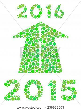 2016 Future Road Mosaic Icon Of Dots In Various Sizes And Ecological Green Color Tints. Vector Fille
