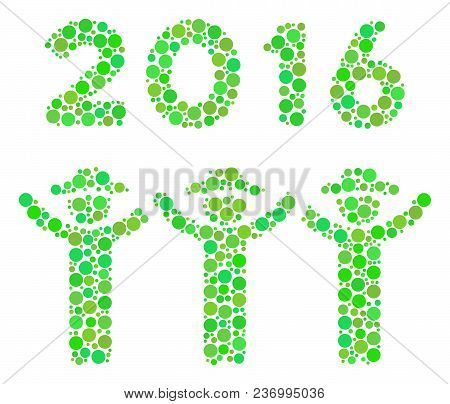 2016 Guys Dance Collage Icon Of Circle Elements In Various Sizes And Eco Green Color Tones. Vector R