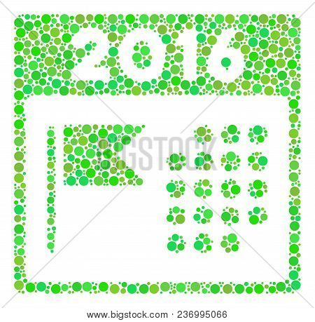 2016 Holiday Calendar Mosaic Icon Of Filled Circles In Various Sizes And Ecological Green Color Tint