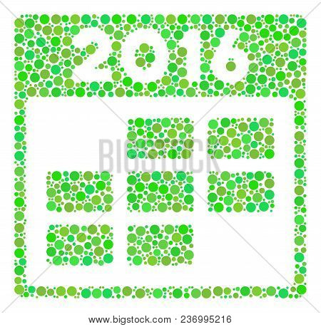 2016 Month Calendar Composition Icon Of Circle Elements In Various Sizes And Fresh Green Color Tones