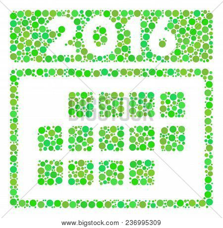 2016 Month Calendar Composition Icon Of Spheric Blots In Different Sizes And Ecological Green Color