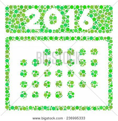 2016 Month Calendar Composition Icon Of Circle Elements In Different Sizes And Green Color Tints. Ve