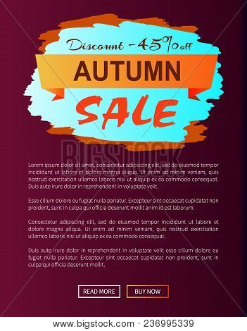 Autumn Discount -45 Clearance With Icon Of Colorful Sign Brush Strokes Of Blue And Orange Colors Vec