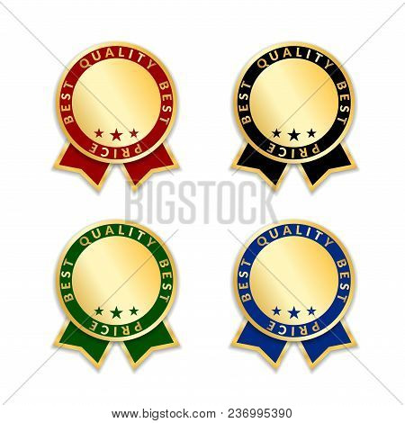 Ribbon Award Best Price Labels Set. Gold Ribbons Award Icon Isolated White Background. Best Quality