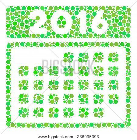 2016 Month Calendar Collage Icon Of Spheric Blots In Different Sizes And Green Color Tones. Vector C