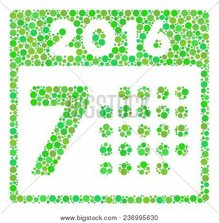 2016 Week Calendar Composition Icon Of Circle Spots In Various Sizes And Green Color Tones. Vector R