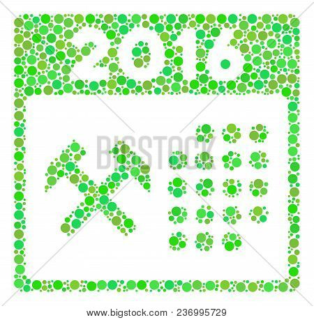 2016 Working Days Collage Icon Of Spheric Blots In Various Sizes And Ecological Green Color Tones. V