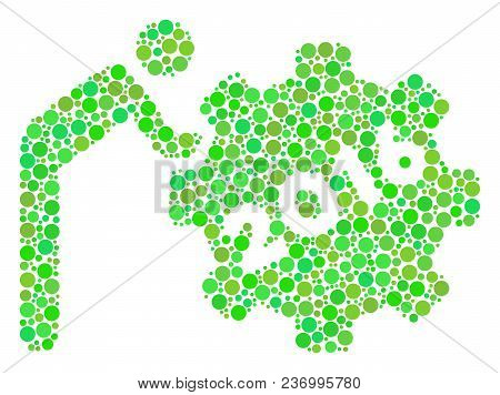 2016 Working Man Mosaic Icon Of Spheric Blots In Various Sizes And Eco Green Color Tints. Vector Rou