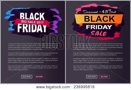 Discount -45 Off Black Friday Big Sale 2017 Promo Label Inscription Informing About Special Offer, C