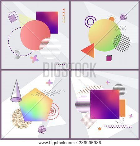 Posters Collection With Abstraction Pattern Consisting Of Purple Squares, Circles And Lines, Objects