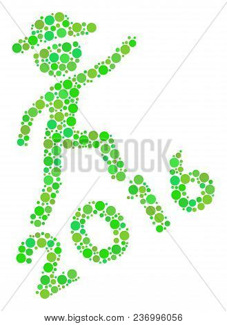 Gentleman Climbing 2016 Composition Icon Of Circle Spots In Different Sizes And Green Color Tones. V